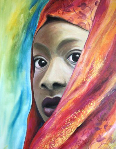 Frau mit rotem Tuch, Acryl, 80x100